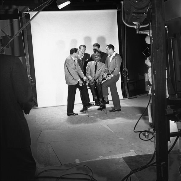 "Sammy Davis Jr. with Frank Sinatra, Dean Martin, Peter Lawford and Joey Bishop as they pose for a publicity photo during the making of ""Ocean"