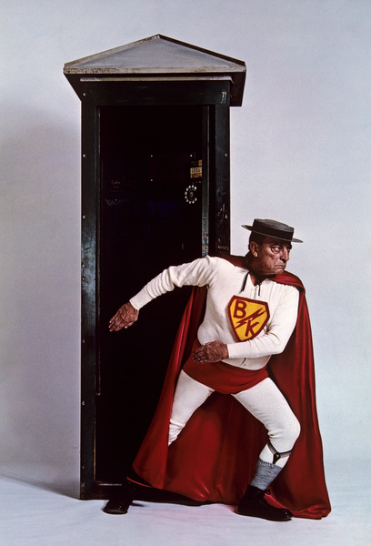 "Buster Keaton as ""Superman"" for a U.S. Steel advertisement 1964 © 1978 Sid Avery - Image 0014_0040"