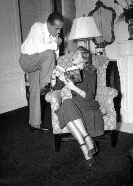 Humphrey Bogart and Lauren Bacall at home, circa 1945.MPTV - Image 0015_1319