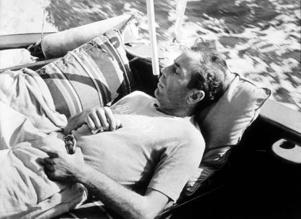 "Humphrey Bogart, on his boat, ""Sluggy,"" circa 1941.MPTV - Image 0015_1352"