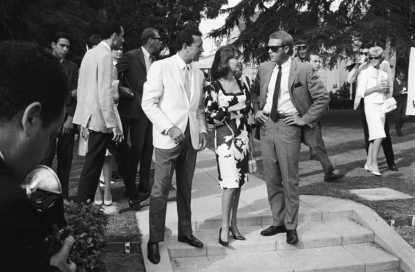 Vic Damone, Natalie Wood and Steve McQueen at a Luci Baines Johnson barbecue (photographer William Claxton in background)1964© 1978 Chester Maydole - Image 0019_1156