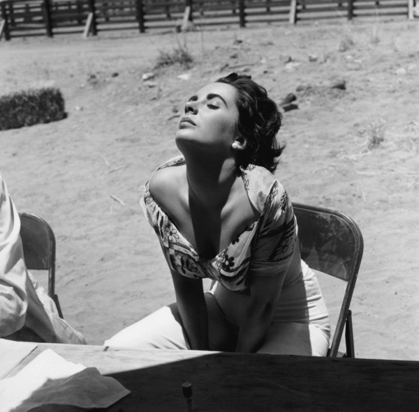 "Elizabeth Taylor sunning herself while on location in Marfa, Texas for the film ""Giant""1955© 1978 Sid Avery - Image 0024_0040"