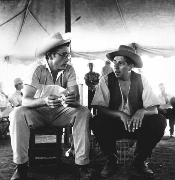 """James Dean and Bob Hinkle on location for """"Giant"""" in Marfa, Texas, 1955. © 1978 Sid Avery - Image 0024_0135"""