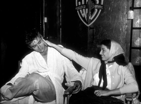 "James Dean taking a break with Pier Angeli behind the scenes of ""East of Eden.""1954 Warner / MPTV - Image 0024_0239"