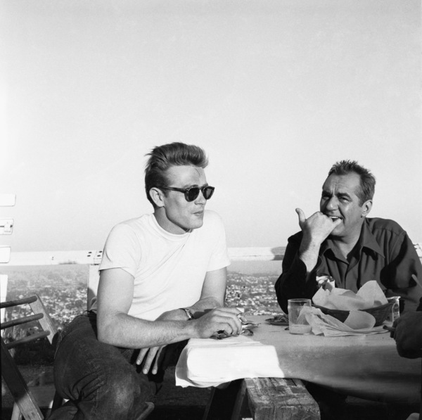 """James Dean and Jim Backus during the making of """"Rebel Without a Cause""""1955© 1978 Sid Avery - Image 0024_2440"""