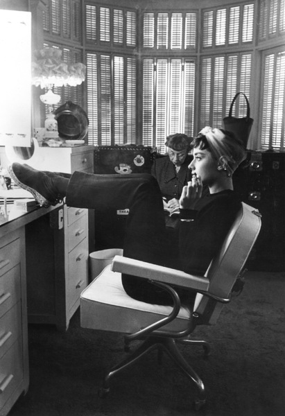 "Audrey Hepburn in dressing room during the filming of ""Sabrina"" 1953© 2000 Mark Shaw - Image 0033_2409"