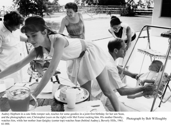 Audrey Hepburn, Jean Quigley (center top),Dorothy Willoughby, Sean Ferrer and ChristopherWilloughby, 1961. / © 1978 Bob Willoughby - Image 0033_4020