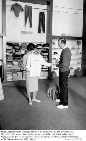Audrey Hepburn with Jack Hansen and pet PIppin, 1958. © 1978 Bob Willoughby - Image 0033_4021