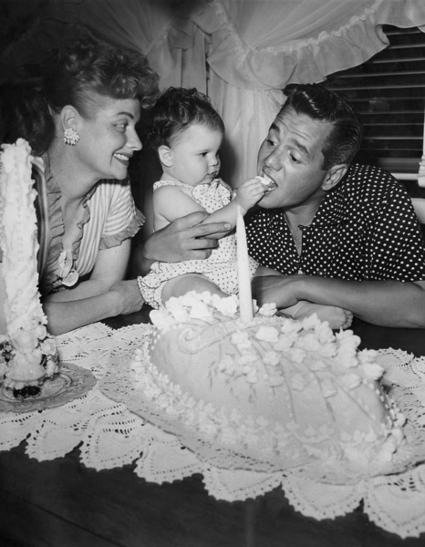 Lucille Ball, Desi Arnaz, and baby Lucie on her 1st birthdayJuly 1952Photo by Gabi Rona - Image 0069_0609