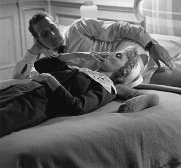 "Paul Newman and Joanne Woodward during a break in filming ""Rally"