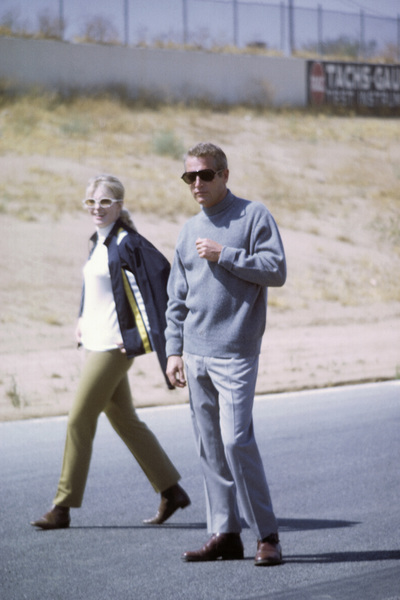 """Paul Newman with wife Joanne Woodward on location at Riverside Raceway in California for the filming of """"Winning""""1968© 1978 David Sutton - Image 0070_2351"""