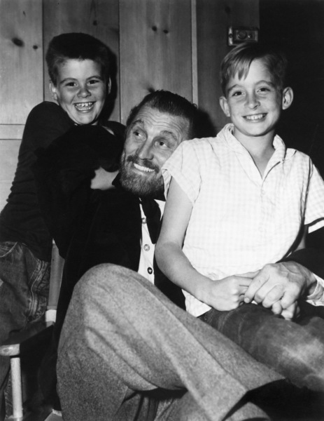 """Kirk Douglas and his sons Joel and Michael on the set of """"Lust for Life""""1956 MGM** I.V. - Image 0075_1164"""