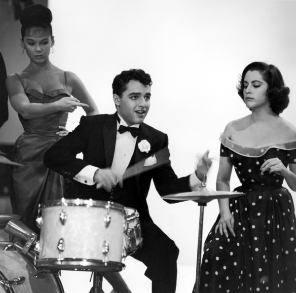 "Sal Mineo playing the drums on the set of ""The Gene Krupa Story""1959 © 1978 Sid Avery - Image 0083_0210"