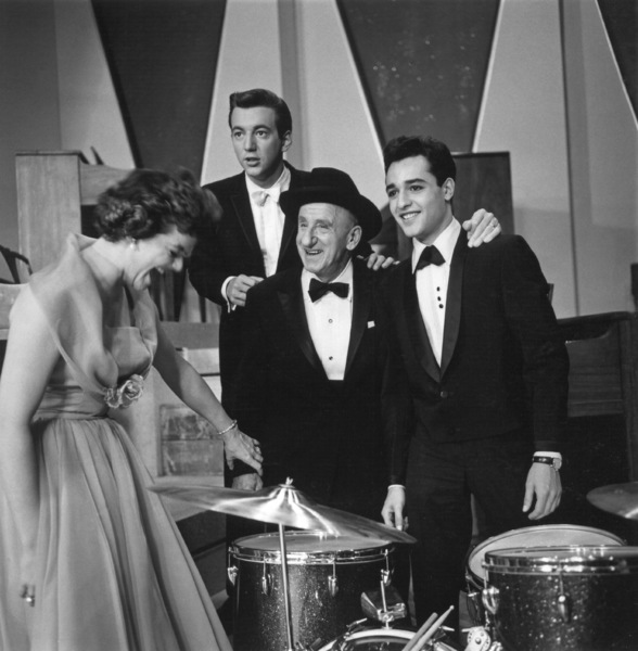 """Sal Mineo with Gisele MacKenzie, Bobby Darin and Jimmy Durante on the set of """"The Gene Krupa Story""""1959 Columbia Pictures © 1978 Sid Avery - Image 0083_0217"""