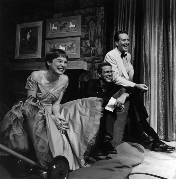 """Shirley MacLaine and Dick Foran backstage on the """"Shower of Stars"""" set at CBS Studios in Los Angeles 1955 © 1978 Sid Avery - Image 0086_0003"""