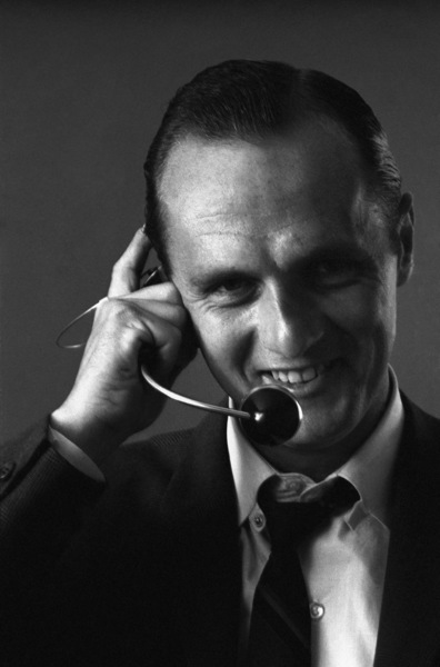 Bob Newhart enacting his telephone operator routine 1961 © 1978 Sid Avery - Image 0092_3027