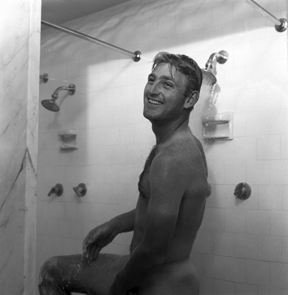 Lew Hoad showering1957© 1978 Sid Avery - Image 0172_0005