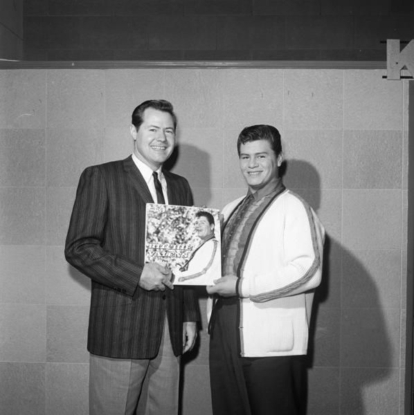 Ritchie Valens and Bob Keane at KFWB radio station 01-21-1959 © 1978 Sid Avery - Image 0303_0006