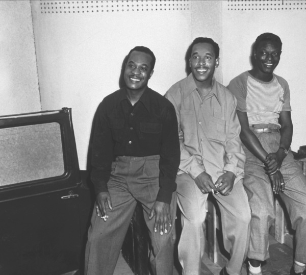 """Nat King ColeWith the """"Nat King Cole Trio""""Oscar Moore and Wesley Prince c. 1945 © 1978 Sid Avery - Image 0321_0093"""