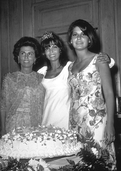 Nancy Sinatra at her 25th Birthday Party with Tina Sinatra, and Nancy Sr. at Chasen