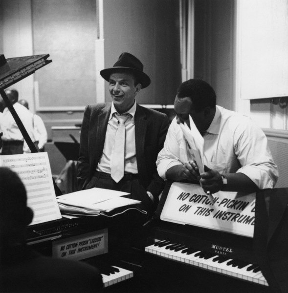 """Frank Sinatra at a 1956 Capitol Records recording session for """"Songs for Swingin"""