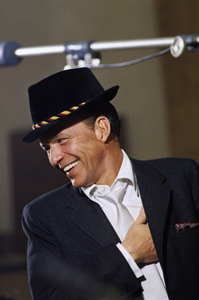 """Frank Sinatra at a Capitol Records recording session in Los Angeles for the album """"Look To Your Heart"""" (photo appears on album"""