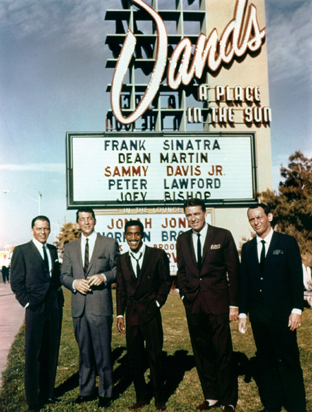 Frank Sinatra, Dean Martin, Sammy Davis Jr., Peter Lawford and Joey Bishop outside of the Sands Hotel 1960 Photo by Floyd McCarty - Image 0337_1618
