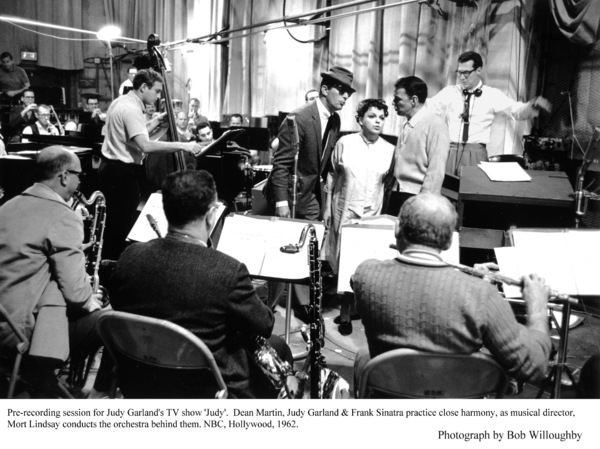 """""""Judy"""" TV ShowDean Martin, Judy Garland & Frank Sinatra during pre-recording session. 1962 © 1978 Bob Willoughby - Image 0337_1695"""