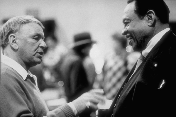 """Frank Sinatra with Lionel Hampton at the Reprise recording session of """"L.A. Is My Lady"""" A&R Studios, New York / 1984 © 1984 Ed Thrasher - Image 0337_2027"""