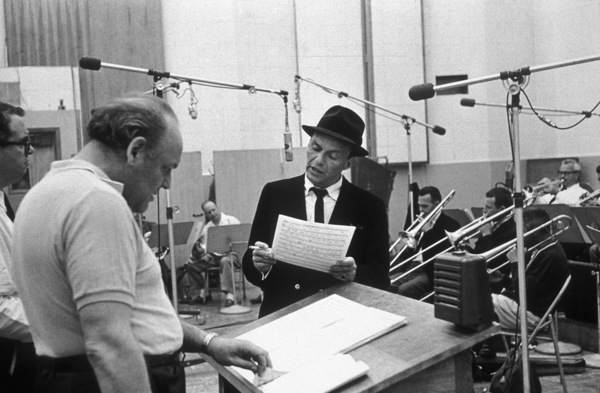 Frank Sinatra and arranger Billy May at a Capitol Records recording session circa 1959© 1978 Sid Avery - Image 0337_2165