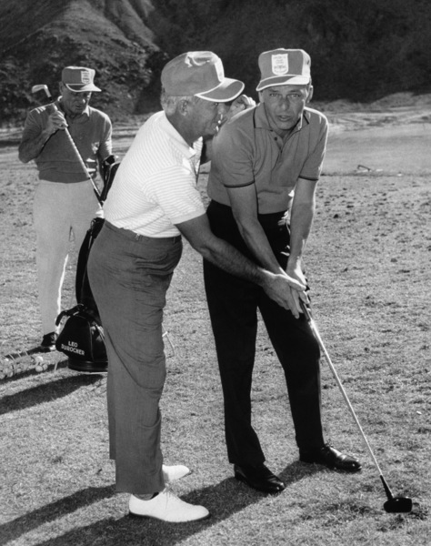 Frank Sinatra, Bo Wininger and Leo Durocher at the Canyon Country Club in Palm Springs for The Frank Sinatra Invitational Golf Tournament1963Photo by Lester Nehamkin** G.L. - Image 0337_2196