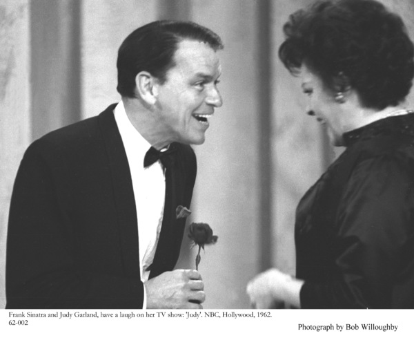 "Frank Sinatra and Judy Garland have a laugh on her Television Show ""Judy"" on NBC, Hollywood, Ca., 1962. © 1978 Bob Willoughby - Image 0337_2343"