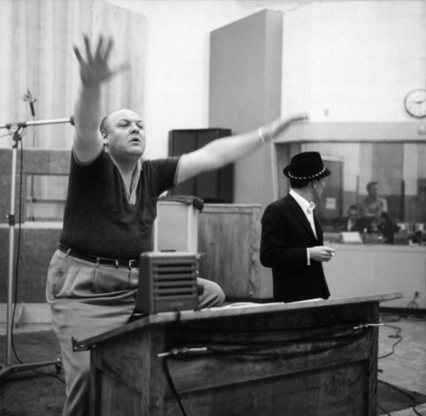 Frank Sinatra and arranger Billy May at a Capitol Records recording session circa 1959 © 1978 Sid Avery - Image 0337_2822