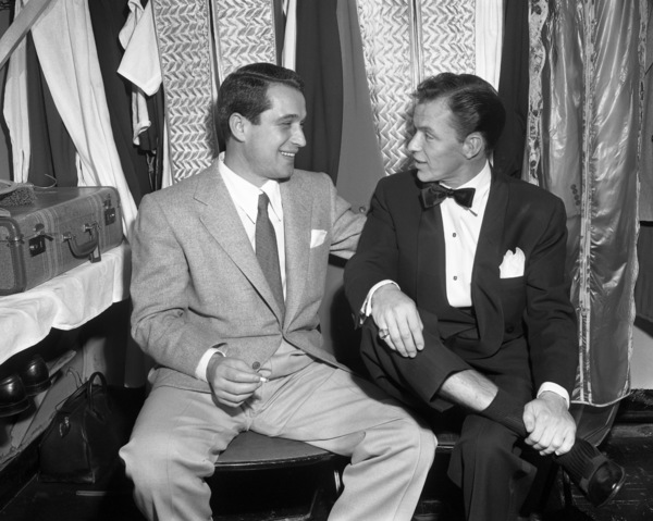 Frank Sinatra and Perry Como backstage at the Copacabana (nightclub)circa 1943© 1978 Barry Kramer - Image 0337_2849