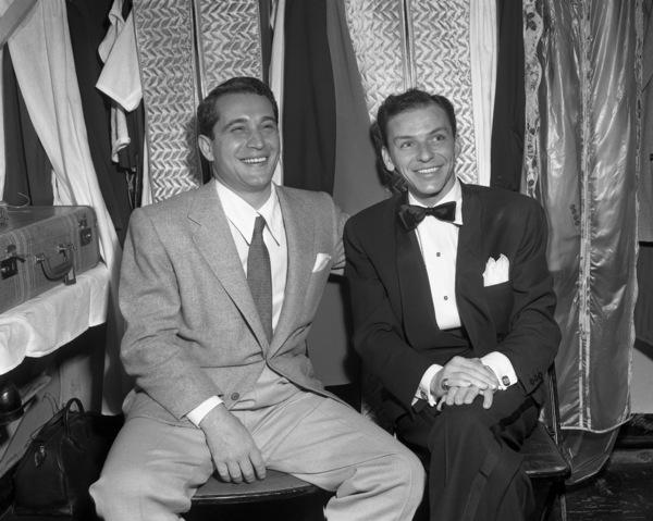 Frank Sinatra and Perry Como backstage at the Copacabana (nightclub) circa 1943 © 1978 Barry Kramer - Image 0337_2864
