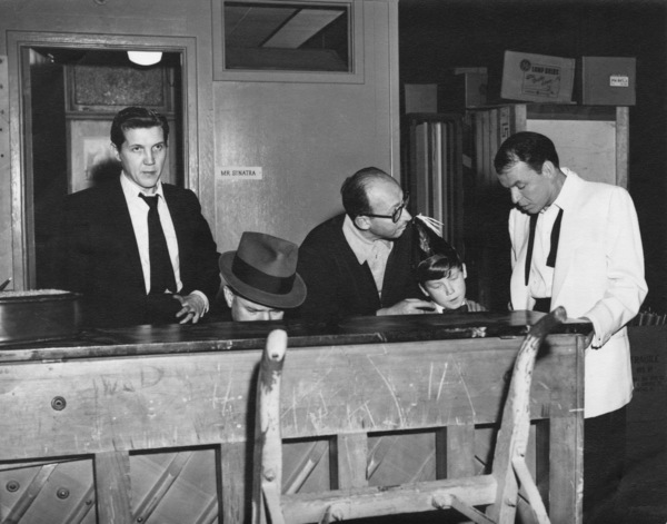 "Frank Sinatra with Bill Miller, Jimmy Van Heusen, Sammy Cahn, and Eddie Hodges during rehearsals for the film ""A Hole in the Head""1959** A.H. - Image 0337_2882"