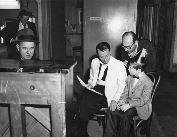"Frank Sinatra with Bill Miller, Jimmy Van Heusen, Sammy Cahn, and Eddie Hodges during rehearsals for the film ""A Hole in the Head""1959** A.H. - Image 0337_2887"