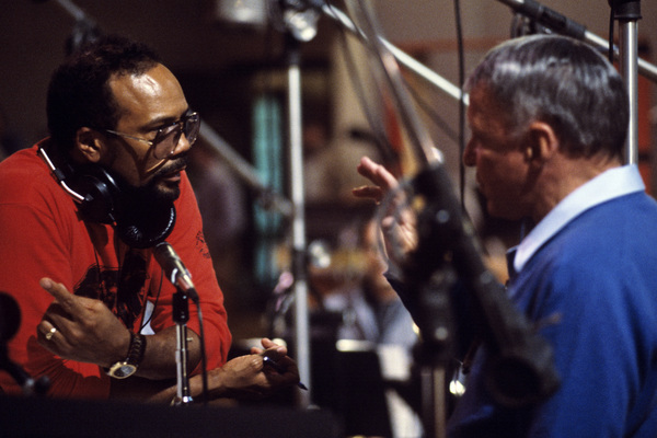"Frank Sinatra and Quincy Jones in the studio during the recording session for his album ""L.A. Is My Lady"" 1984 © 1984 Ed Thrasher - Image 0337_2892"