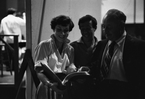 """Betty Comden and Adolph Green backstage during production of """"Peter Pan""""1954© 1978 Bob Willoughby - Image 0549_0085"""