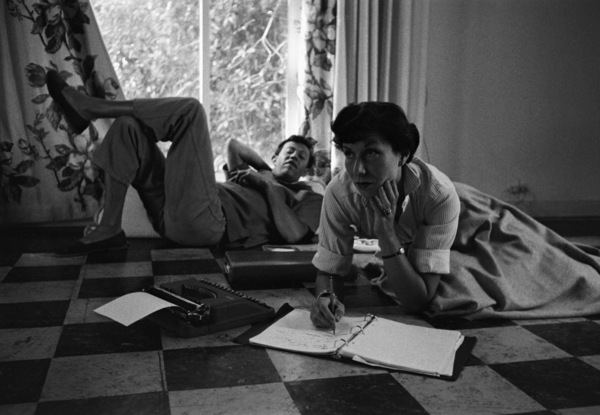 "Adolph Green and Betty Comden at their Los Angeles home working on the new score for ""Peter Pan""1954© 1978 Bob Willoughby - Image 0549_0090"