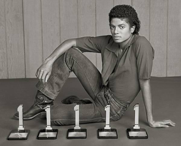 "Michael Jackson in Los Angeles with his five Billboard Magazine awards for the album ""Off the Wall"" (#1 Pop Singles Artist, #1 Pop Album, #1 Soul Artist, #1 Soul Album, #1 Soul Singles Artist)1980 © 2009 Bobby Holland - Image 0628_0021c"