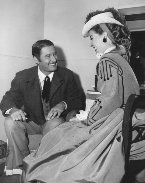 """Ann Sheridan and Errol Flynn on the """"Silver River"""" set at Warner Brothers1948Photo by Lloyd MacLean - Image 0703_0830"""