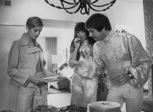 Twiggy with Sonny and Cher during a visit to the west coast1967 - Image 0710_0051
