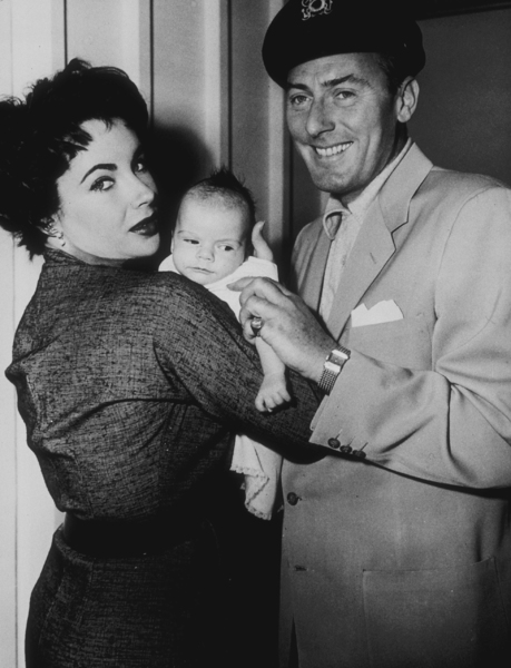 Elizabeth Taylor and Michael Wilding with their first child, Michael Howard Jr.1953MPTV - Image 0712_2160