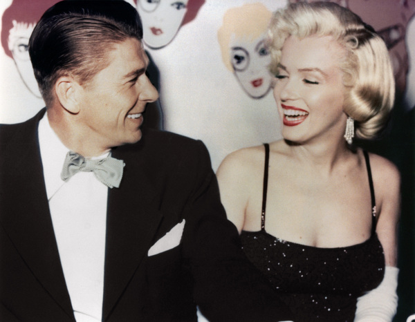 Marilyn Monroe with Ronald Reagan at Charlton Heston