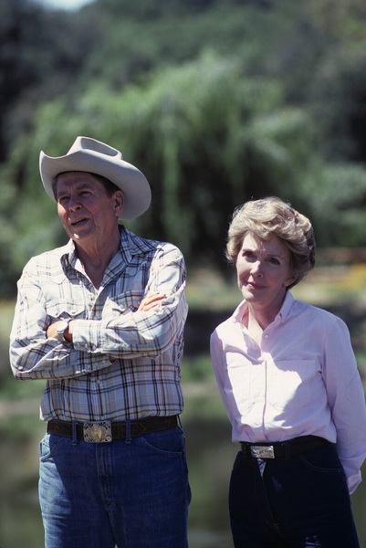 Ronald Reagan with wife, Nancy Reagan, at Rancho del Cielo in Santa Ynez, CA1980© 1980 Gunther - Image 0871_1591