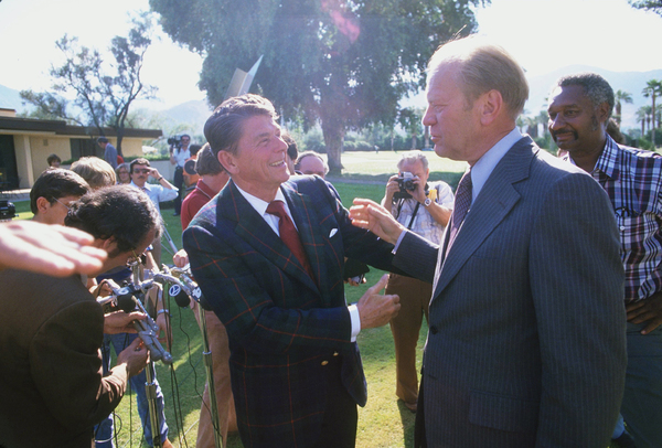 Ronald Reagan with Gerald R. Ford and the press1978 © 1978 GuntherMPTV - Image 0871_1614