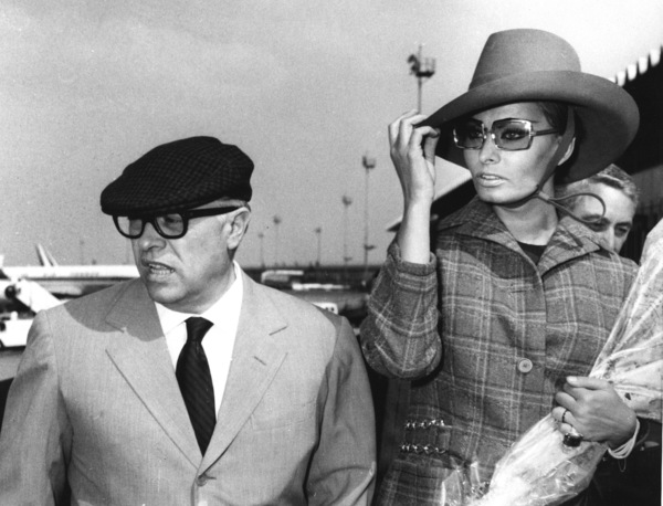 Sophia Loren with husband Carlo Pontiarriving at Rome