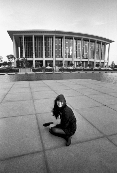 Cher Bono in downtown Los Angeles in front of the Dorothy Chandler Pavilion at the Music Center1967© 1978  Bob Willoughby - Image 0967_0297