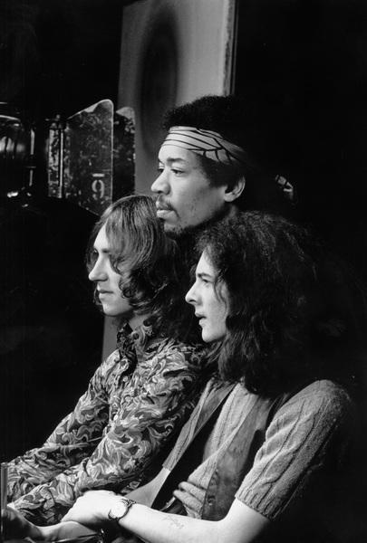 Jimi Hendrix with bandmates Mitch Mitchell and Noel Redding 1969 © 1978 Ed Thrasher - Image 10778_0036